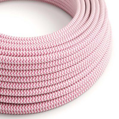 Kábel dvojžilový v podobe textilnej šnúry so vzorom White/Pink, 2 x 0.75mm, 1 meter