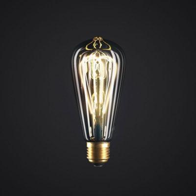 Edison Soft žiarovka, Dymová LED žiarovka - TEARDROP - 5W, E27, Stmievateľná, 2000K (1)