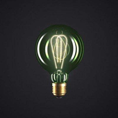 Edison Soft žiarovka, Smaragdová LED žiarovka - GLOBUS - 5W, E27, Stmievateľná, 2200K (2)