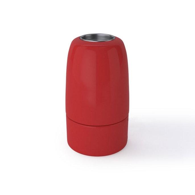 Porcelánová objímka s päticou E14 • Italy • červená