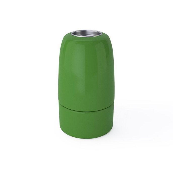 Porcelánová objímka s päticou E14 • Italy • zelená