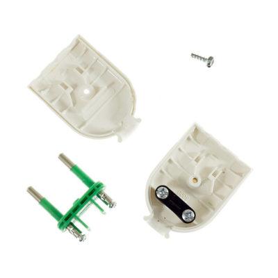 Dvoj pólová zástrčka, umelá hmota, IP20, 10A, biela farba (2)