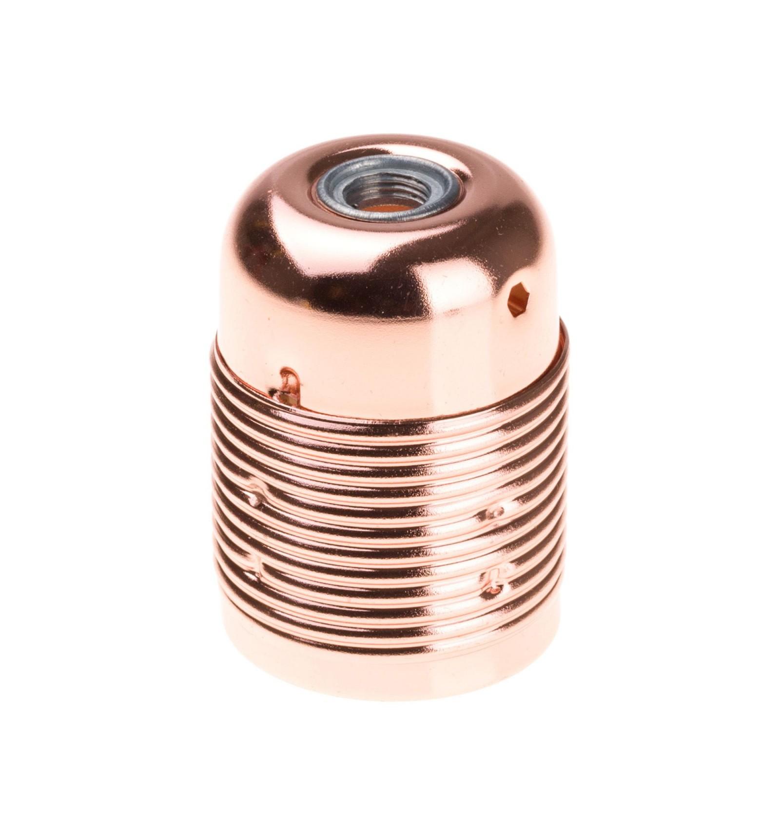 Retro kovová objímka s plastovým držiakom kábla v medenej farbe
