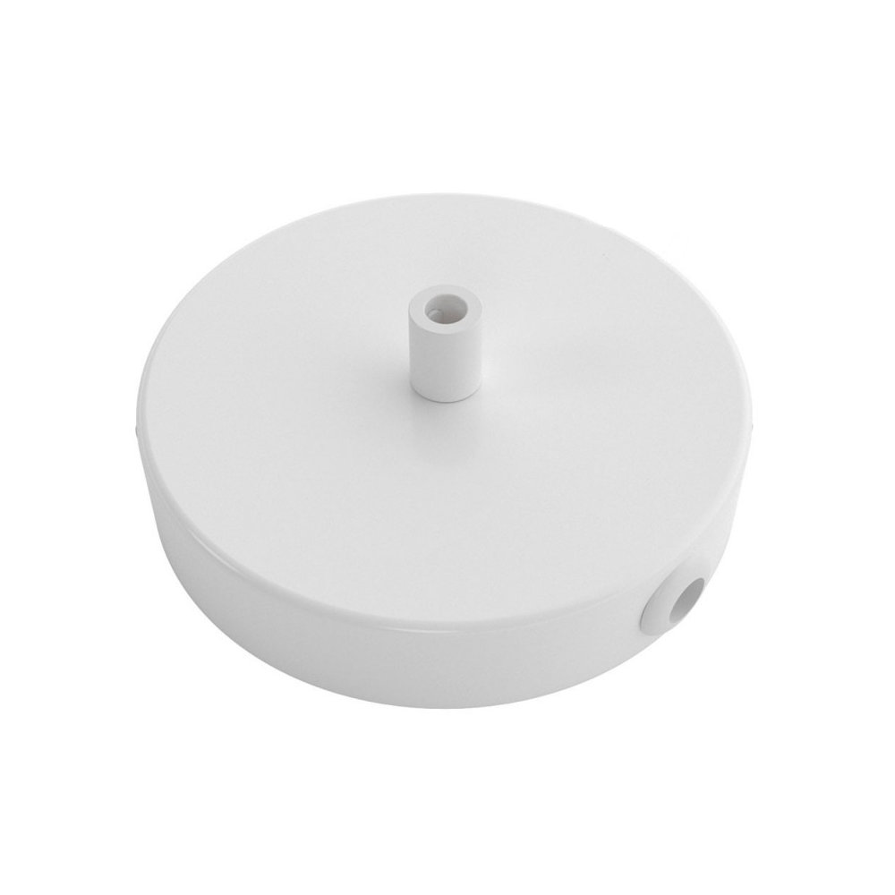 Stropný držiak pre 1 svietidlo a 2 bočnými otvormi, 12cm, kov, biela farba (3)