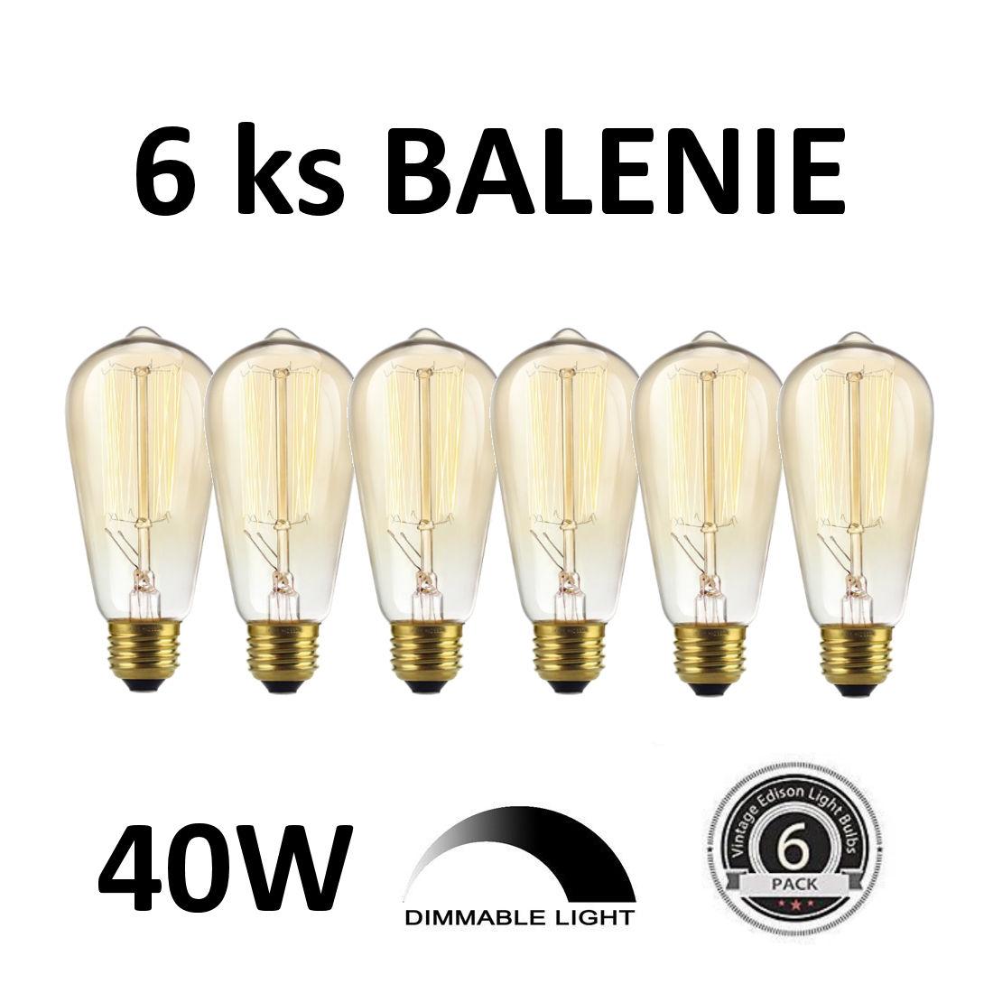 EDISON žiarovka - MINI TEARDROP - E27, 40W, 150lm - BALENIE 6 KUSOV