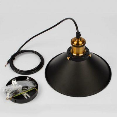 Historické závesné svietidlo s čiernym hlbokým tienidlom, 220mm na žiarovky typu E27 je svietidlo určené na stenu v rustikálnom vzhľade (2)