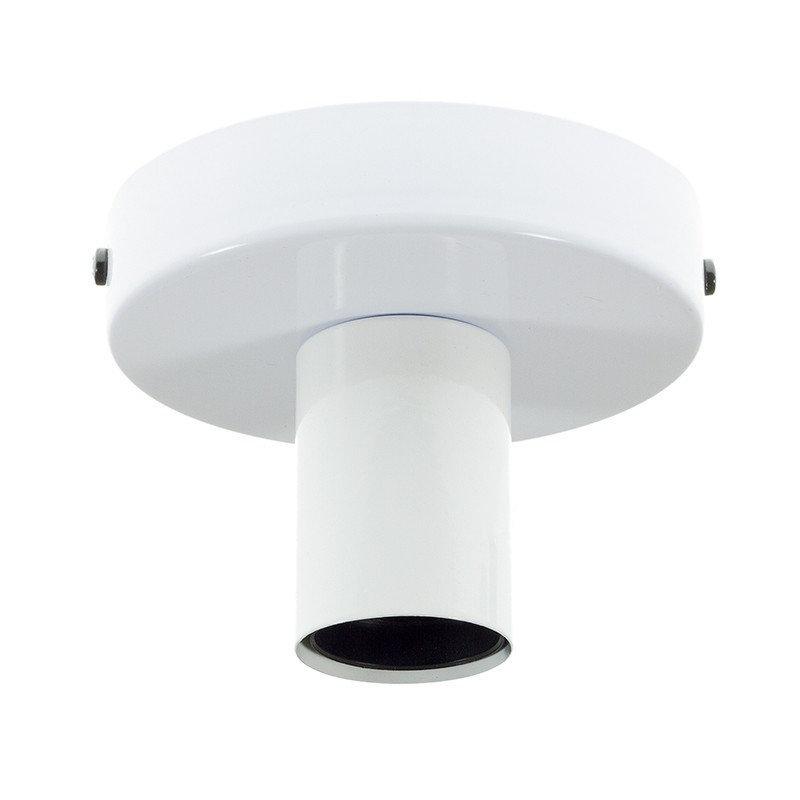Kovová objímka na stenu alebo strop, biela farba (1)