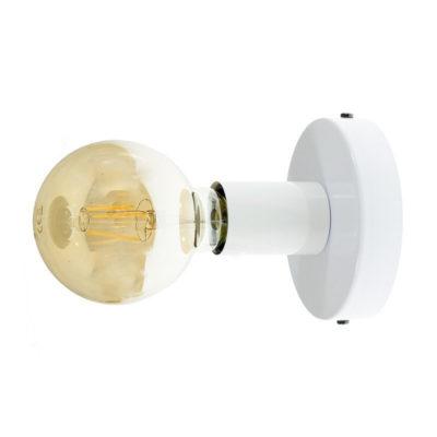 Kovová objímka na stenu alebo strop, biela farba (2)