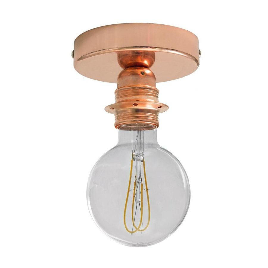 Kovové svietidlo na stenu alebo strop, možnosť pripojenia tienidla, medená farba (2)