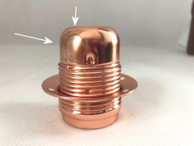 Masívna dekoračná objímka E27 • s okrasnou skrutkou • kov • bronzová - 2.AKOSŤ – Kozmetická vada (2)
