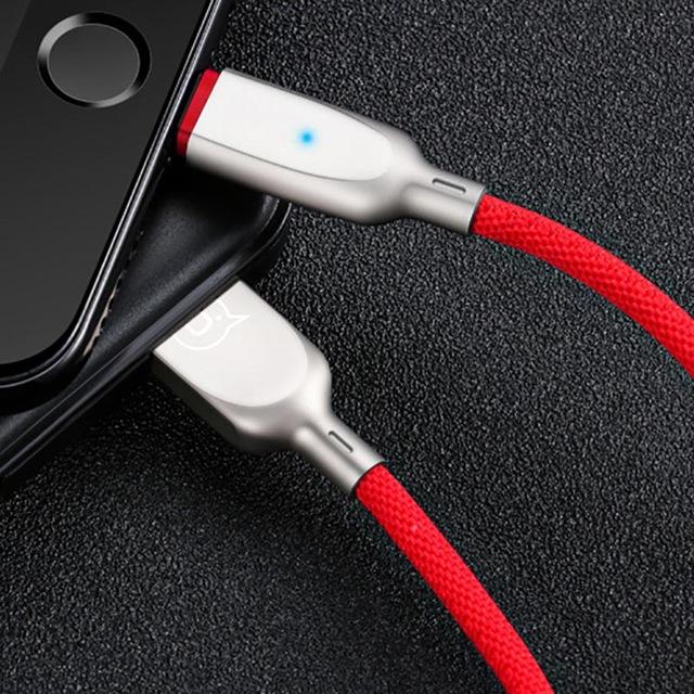 Inteligentný textilný lightning nabíjací kábel 120cm, červená farba (1)