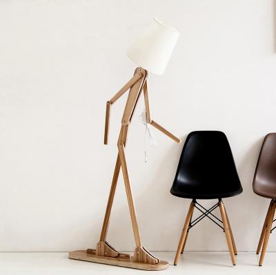 Kreatívne drevené stojacie svietidlo, polohovateľné, 160cm, stredné tmavé drev (1)