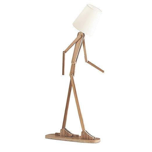 Kreatívne drevené stojacie svietidlo, polohovateľné, 160cm, stredné tmavé drevo