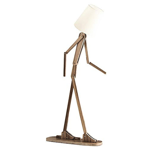 Kreatívne drevené stojacie svietidlo, polohovateľné, 160cm, tmavé drevo
