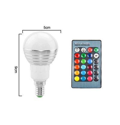 LED RGB žiarovka na diaľkové ovládanie, 16 funkcií, 3W, E14 (2)