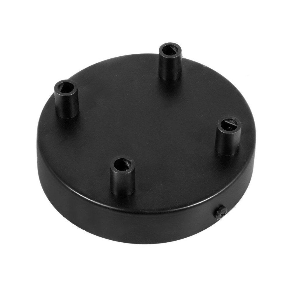 Stropný držiak pre 4 svietidlá, 12cm, kov, čierna farba (3)