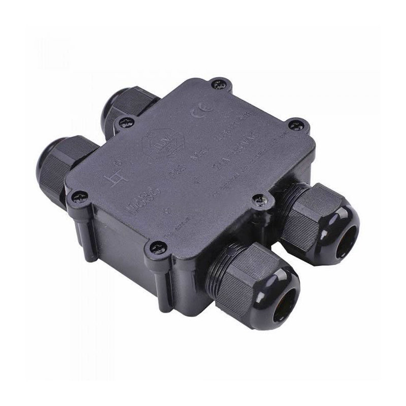 Vodotesná skrinka s upínacou základňou - priemer kábla 4 x (8-12 mm), IP68, čierna farba