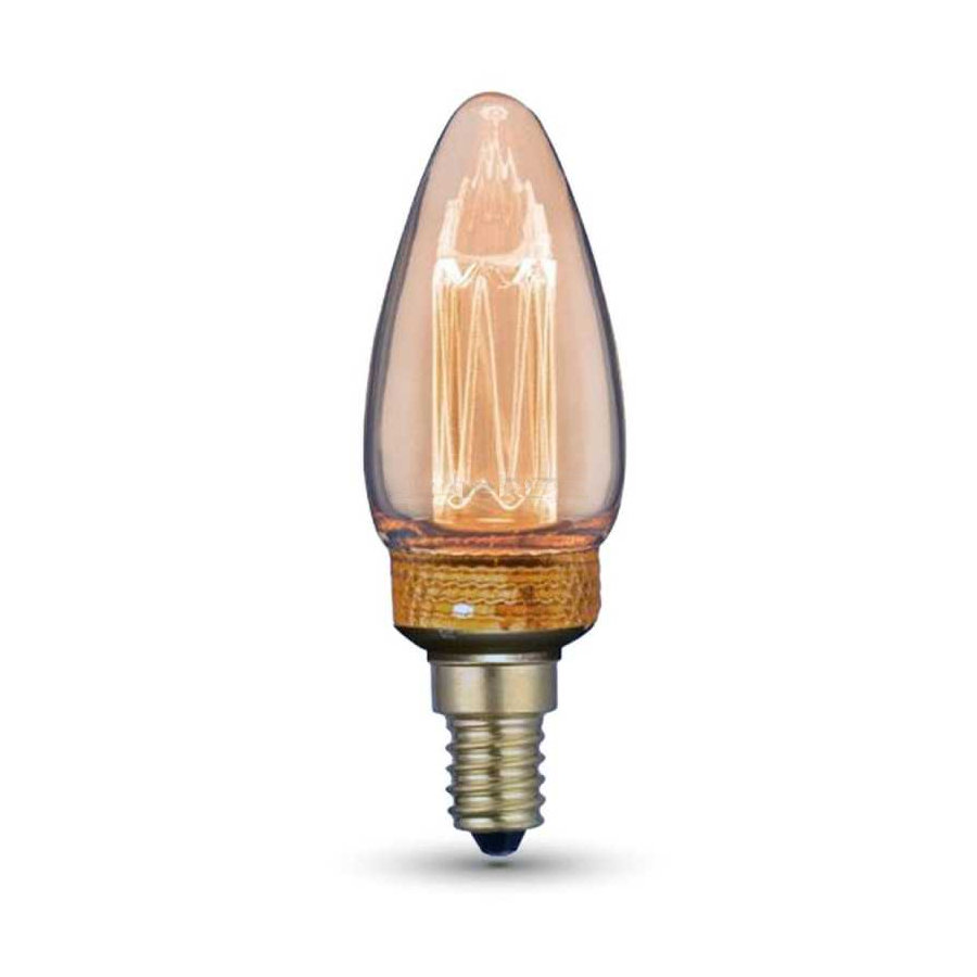 Dekoračná FILAMENT žiarovka - CANDLE - E14, Teplá biela, 2W, 65lm