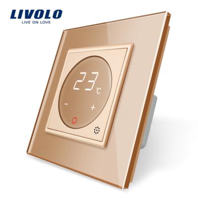 Dotykový digitálny termostat s možnosťou ovládania elektrických vykurovacích okruhov v zlatej farbe