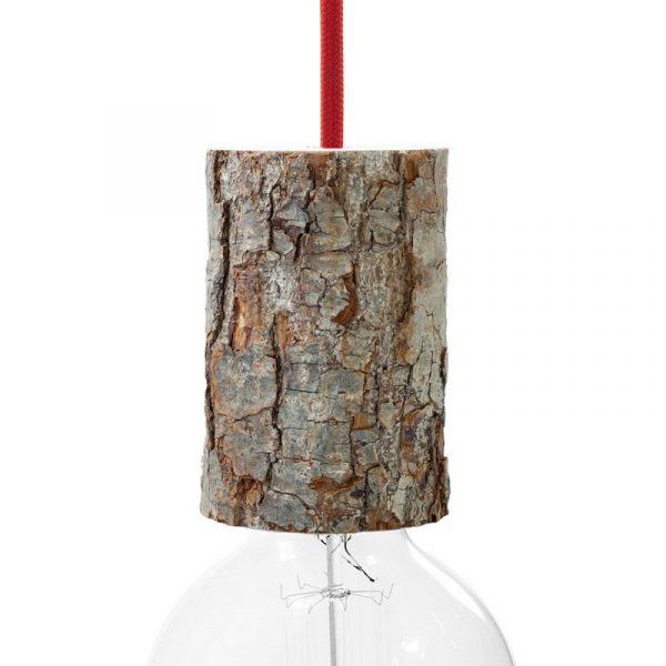 Drevená objímka E27 s káblovou svorkou, 11 cm (1)