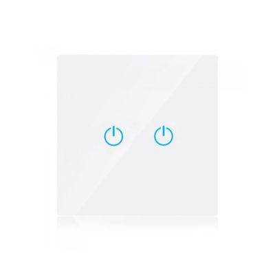 Dotykový SMART vypínač WIFI kompatibilný s AMAZON ALEXA + GOOGLE HOME, 2-tlačidlový, biely