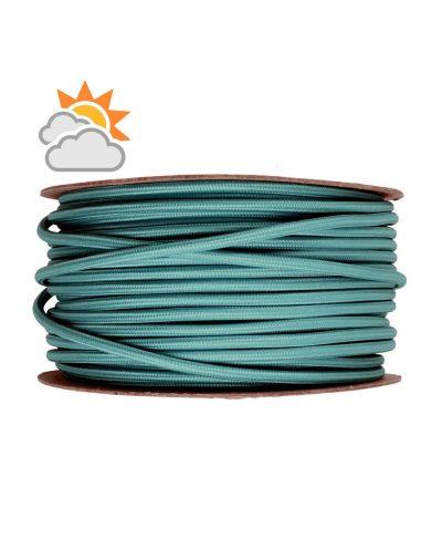 Kábel do exteriéru trojžilový v podobe textilnej šnúry v tmavo zelenej farbe