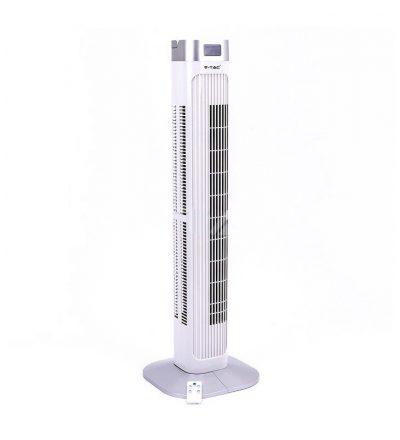LED stĺpový ventilátor V-TAC s ukazovateľom teploty a ďialkovým ovládaním, 90cm, 55W, Biela farba