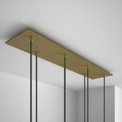 Obdĺžniková stropná rozeta, 90 x 20cm so 7 otvormi, kovová, mosádzna (2)