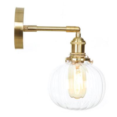 Sklenené nástenné svietidlo TRANSPARENT GLOBE v zlatej farbe