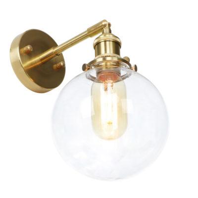 Sklenené nástenné svietidlo TRANSPARENT MOON v zlatej farbe