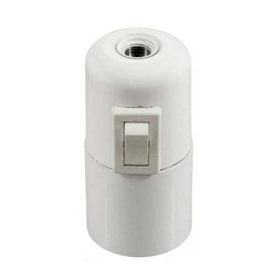 Bakelitová objímka E27 s vypínačom v bielej farbe