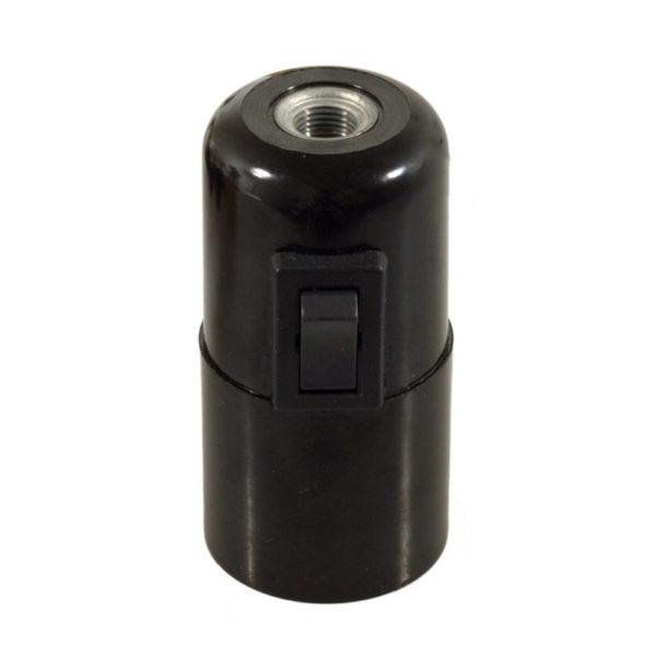 Bakelitová objímka E27 s vypínačom v čiernej farbe