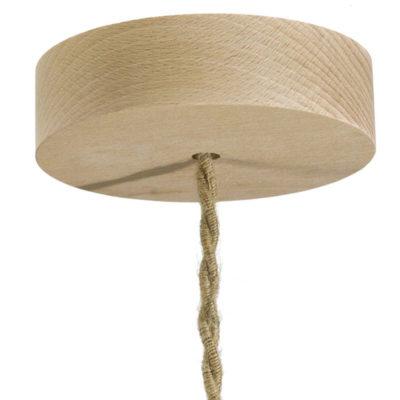 Drevená jednoduchá stropná rozeta pre textilné káble.