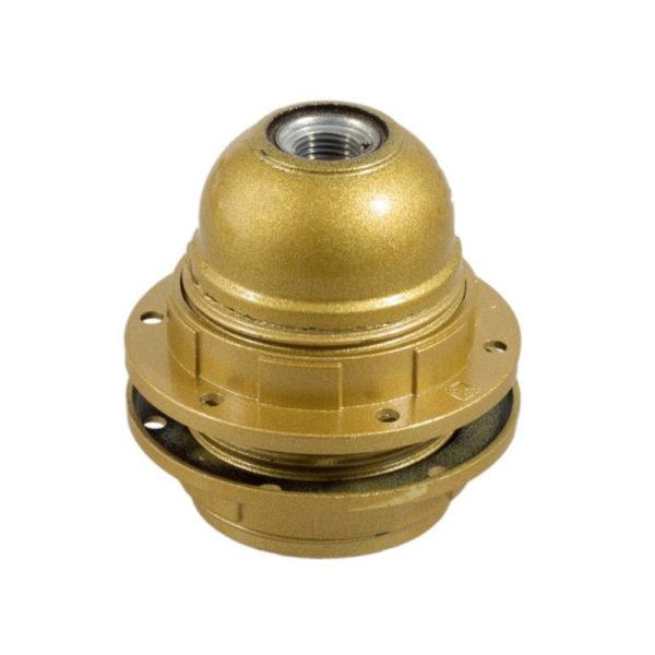 E27 hladká objímka z bakelitu pre použitie tienidla, farbená zlatá.