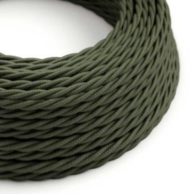 Elektrický kábel dvojžilový skrútený potiahnutý bavlnou v zeleno sivej farbe, 2 x 0.75mm, 1 meter
