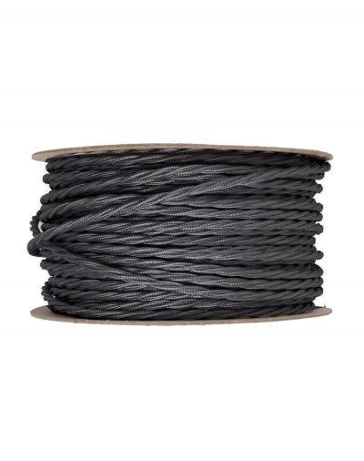 Kábel dvojžilový skrútený v podobe textilnej šnúry v tmavo šedej farbe, 2 x 0.75mm, 1 meter