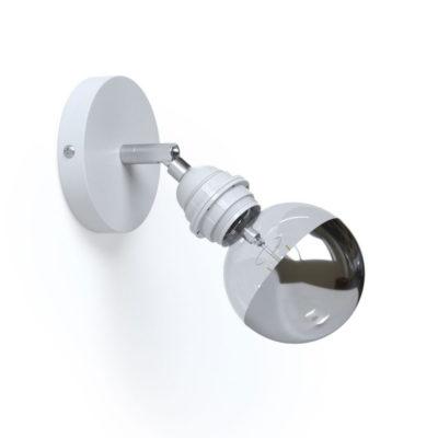 Kovové prispôsobiteľné svietidlo na stenu alebo strop, možnosť pripojenia tienidla, biela farba