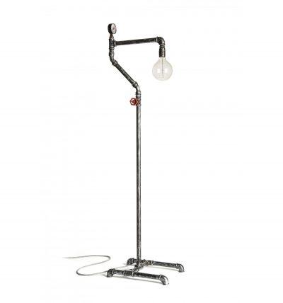 Priemyselná stojacia lampa v starožitnom štýle s podlahovým spínačom, antická čierna farba
