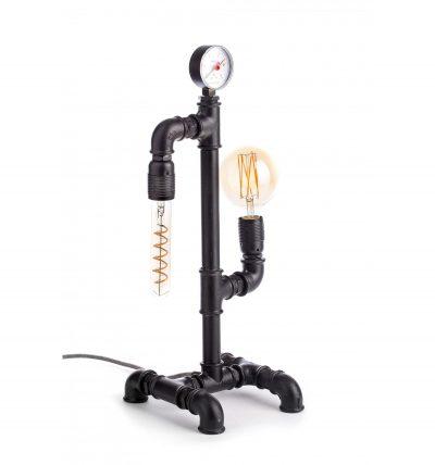 Priemyselná stolová lampa v starožitnom štýle so stmievačom, čierna farba