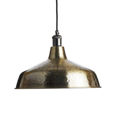 Ručne kované závesné svietidlo INDUSTRIAL BRASS v staromosádznej farbe