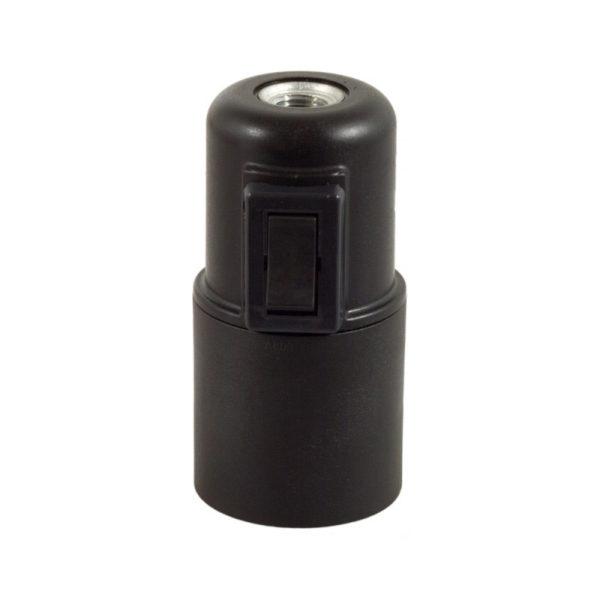 Termoplastová objímka E27 s vypínačom v čiernej farbe