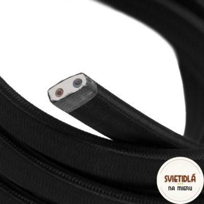 Textilný elektrický kábel pre Svetelné reťaze potiahnutý hodvábnou textíliou v čiernej farbe