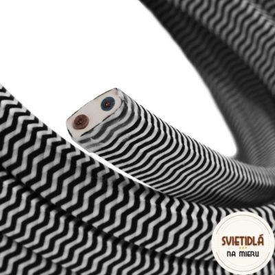 Textilný elektrický kábel pre Svetelné reťaze potiahnutý hodvábnou textíliou v čierno bielej farbe