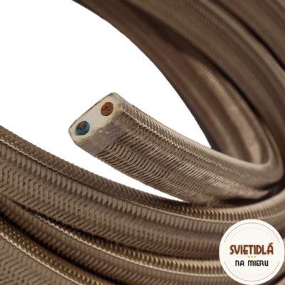 Textilný elektrický kábel pre Svetelné reťaze potiahnutý hodvábnou textíliou v hnedej farbe