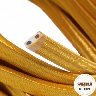 Textilný elektrický kábel pre Svetelné reťaze potiahnutý hodvábnou textíliou v krikľavej zlatej farbe