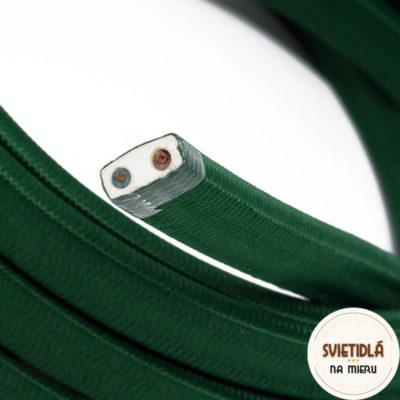 Textilný elektrický kábel pre Svetelné reťaze potiahnutý hodvábnou textíliou v tmavo zelenej farbe