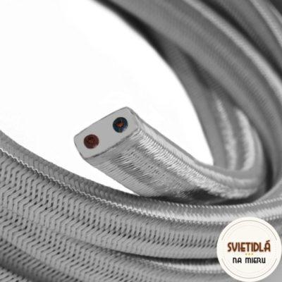 Textilný elektrický kábel pre Svetelné reťaze potiahnutý hodvábnou textíliou v striebornej farbe