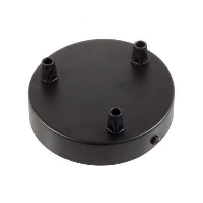 Čierny stropný držiak pre 3 svietidlá, 12cm, kov