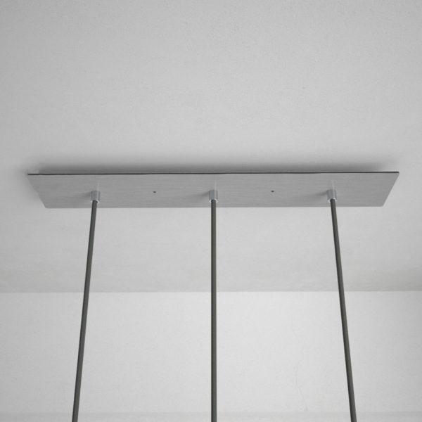 Obdĺžniková stropná rozeta, 60 x 12 cm s 3 otvormi, kovová, oceľová lesklá farba