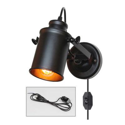 Retro nástenné svietidlo Reflector v čiernej farbe so stmievačom, 180cm, EU zástrčka.